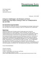 Antrag der Unabhängigen Liste zum Haushalt 2020 – Zuweisung an das Hospiz Leonberg in Höhe von 10000,00 EUR für das Jahr 2020