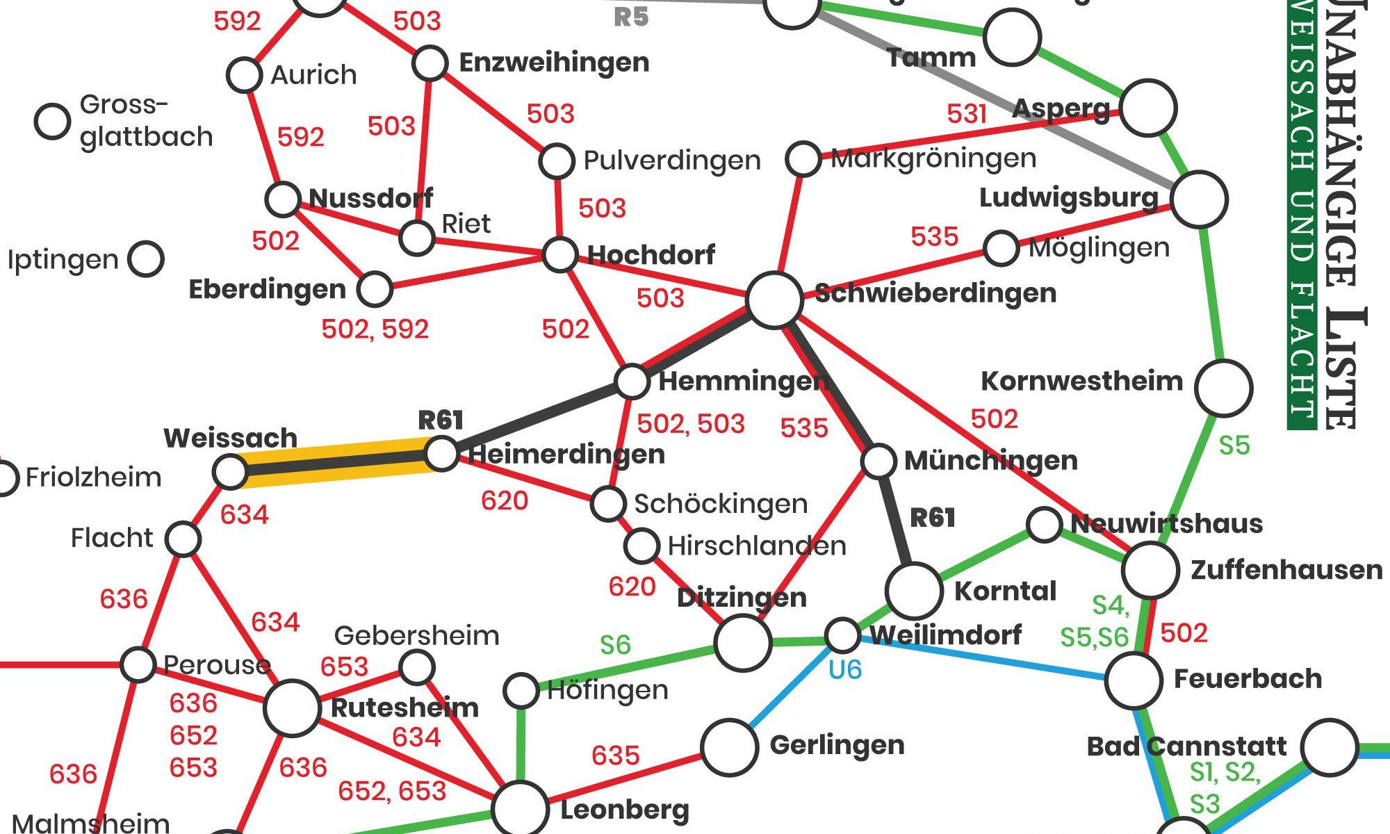 ÖPNV-Netz um Weissach mit Strohgäubahn